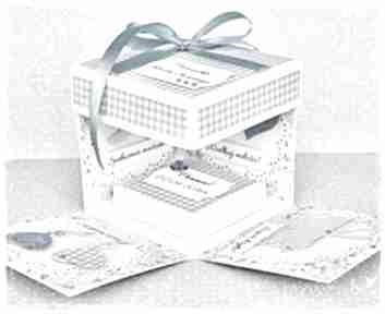 Pamiątka chrztu - exploding box z personalizacją scrapbooking