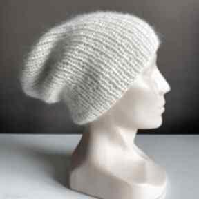 Ręcznie robiona czapka hand made ściągacz 100% alpaka nitka