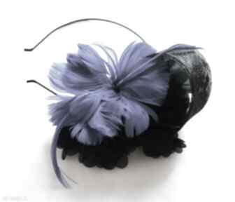 Kobaltowa dama ozdoby do włosów fascynatory fascynator, pióra