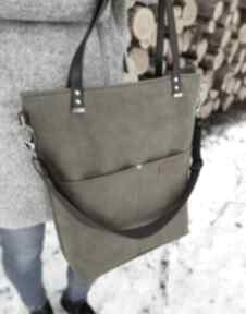 Duża torba khaki z ciemnym brązem na ramię musslico torba