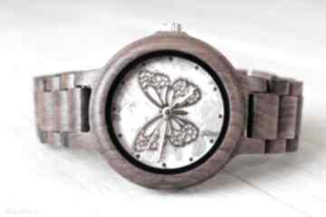 Damski drewniany zegarek seria full wood z motylem zegarki