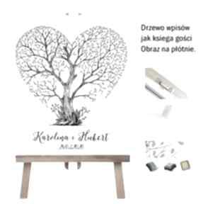 Drzewo wpisów jako księga gości - obraz na płótnie 55x65 cm