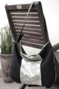 Torba midi z łączonych materiałów na ramię happyart torebka