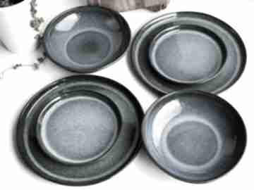 Zestaw ceramiczny dla dwojga - talerz obiadowy, deserowy