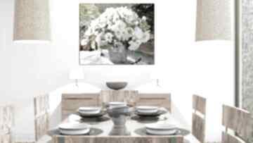 Obrazy kwiaty bukiet białych kwiatów, 100 x 80, obraz na płótnie