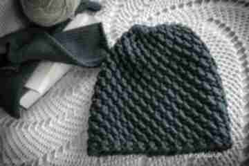Czapka handmade turkusowa czapki hermina hand made, zimowa