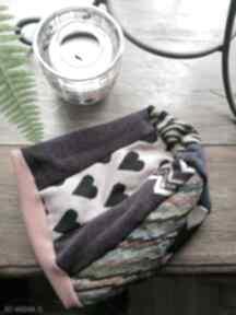 Czapka damska smerfetka szyta patchworkowy na podszewce, obwód