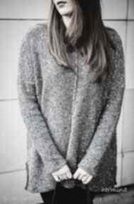 Szary melanżowy sweter swetry hermina sweter, szary, melanż,