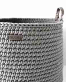 Duży szydełkowy kosz w kolorze kawowym dom pule ze sznurka