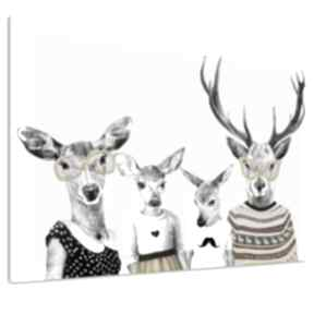 Obraz na płótnie - 120x80cm rodzina jeleni, rodzice, córka i syn