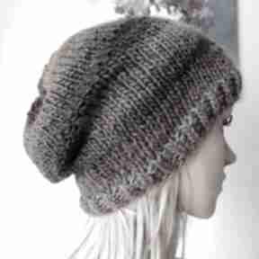 Lawendowy akcent czapka czapki buenaartis rękodzieło, na drutach
