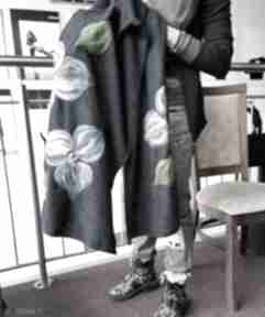 Ruda Klara granat szal damski zimowy z wełną merynosów handmade