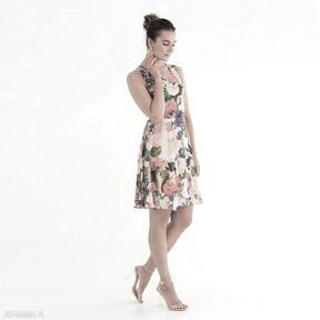 Sukienka 2 ss 2021 sukienki pawel kuzik kwiaty, kolorowa, wzory