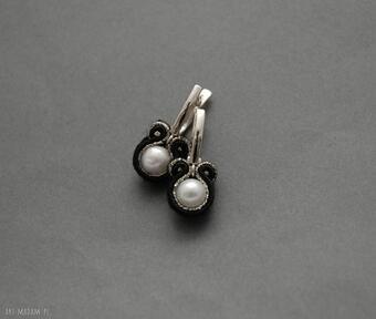 Kolczyki sutasz z perłami sisu sznurek, eleganckie, wieczorowe