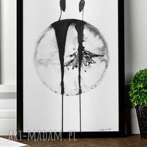 ręcznie malowany, plakat A3, grafika 30x40, obraz taniec, grafika-czarno-biała