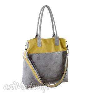 Fiella - duża torba musztarda i szarość na ramię incat shopper