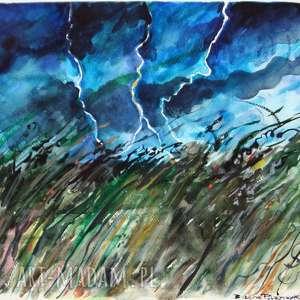 Burzowa sceneria , burza, akwarela, widok, pioruny, obraz, lato