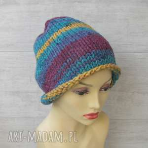 Super gruba czapka zimowa kolorowa czapki albadesign czapka