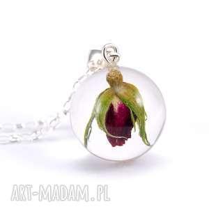 Prezent Naszyjnik z czerwoną różą, żywica i srebro, żywica, naturalna, prezent