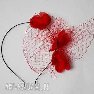 CZERWONE KWIATY, czerwony, kwiaty, jedwab, woalka