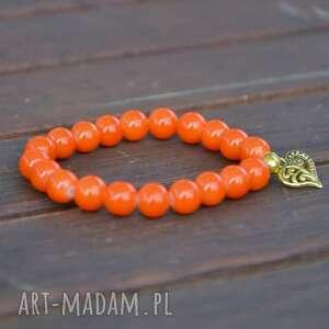 bracelet by sis serce w pomarańczowych koralach, serce, pomarańcz, korale, nowość