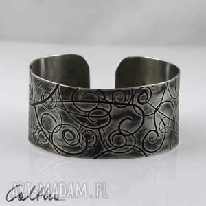 .Zawijasy - metalowa bransoletka, bransoleta, szeroka, metalowa, alpaka