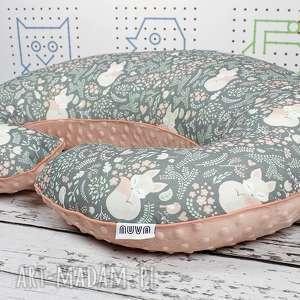 duża poduszka do karmienia śpiący lisek - szary, poduszka, gniazdo, rogal
