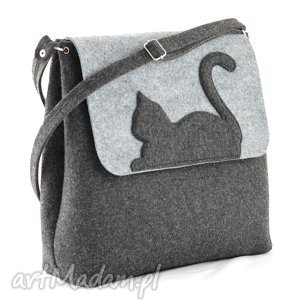 handmade na ramię duża torebka filcowa na ramię - listonoszka z kotem- szary i grafit