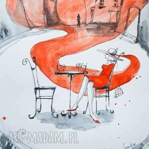 marzenie obraz akwarelami i piórkiem artystki adriany laube, akwarela, retro