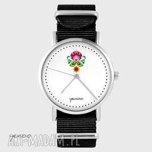 zegarki zegarek - folkowy kwiat czarny, nato, zegarek, bransoletka, nato