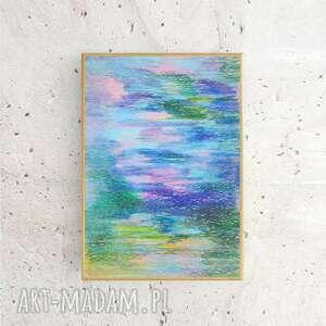nowoczesny rysunek w ramce, oprawiony szkic pastelowy, abstrakcyjny obraz