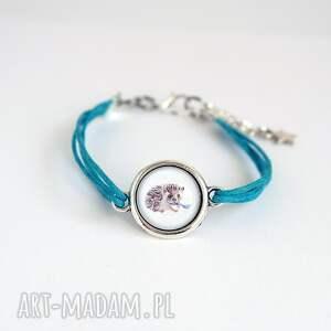 bransoletka - jeżyk niebieska, sznurki, bransoletka, jeż, grafika, szklana