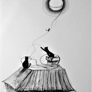 Rysunek piórkiem Kocie figle artystki plastyka Adriany Laube, koty, domek, rysunek