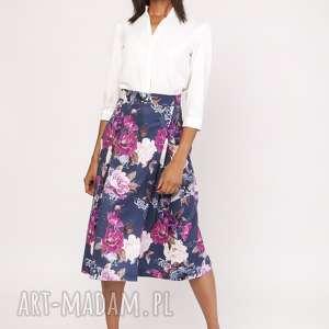 ręcznie zrobione spódnice rozkloszowana spódnica za kolano, sp119 kwiaty