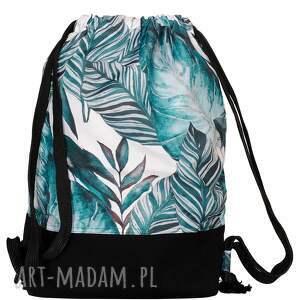 plecak typu worek liście na jasnym tle, worek, dresowy
