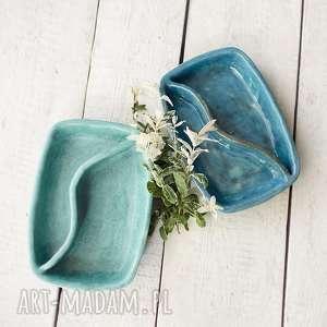 Miętowy półmisek dzielony, ceramika, miska,