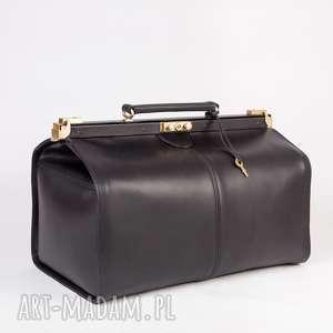 podróżne skórzany kufer podróżny/ torba lekarska mała, skóra, kufer