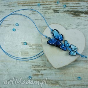 Długi wisiorek z motylami, motyle, wisior, długi, fimo, motyl
