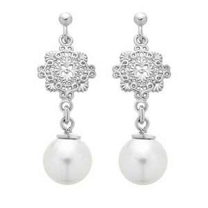 srebrne kolczyki z perłami swarovski® crystal - wiszące