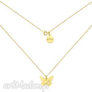 złoty naszyjnik z motylem - łańcuszek delikatny, motylek