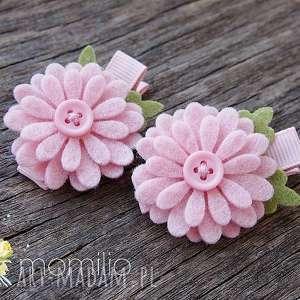 DAISY Spinki do włosów kwiatki różowe, wiosna, kwiatki, spinki, filcowa