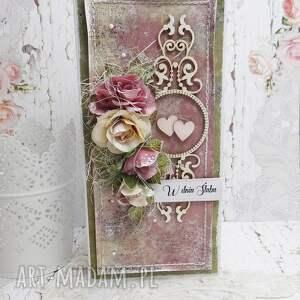 Ślubny bukiet- kartka z pudełkiem - ślub, pudełko na ślub, młodej