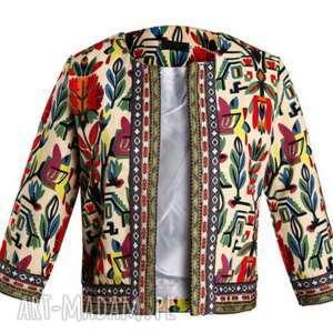 handmade kurtki żakiet etniczny z motywem ludowym