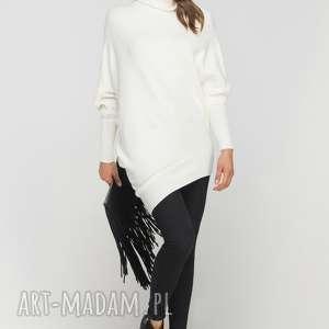 asymetryczna, swetrowa tunika, swe113 ecru, casual, ciepły, asymetryczny, tunika