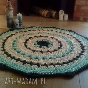 dywan the quendi, szydełkowy, ze sznurka, okrągły, mandala
