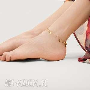 złota bransoletka na nogę z gwiazdkami - żółte bransoletki