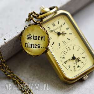 ręcznie zrobione zegarki słodki czas ... brązowa zawieszka-zegarek