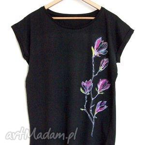 MAGNOLIE koszulka oversize czarna , koszulka, oversize, magnolie, kwiaty, nadruk