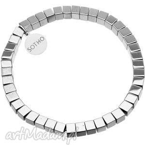 srebrna bransoletka modowa hematyt kostka srebro 925, kostki, modowa, srebrzona