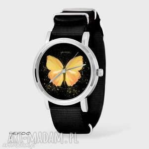 yenoo zegarek, bransoletka - żółty motyl czarny, nato, bransoletka, nato
